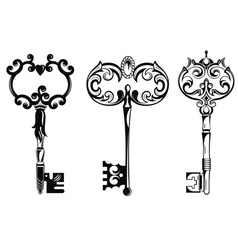 Collection of vintage keys vector image