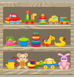 Colorful childrens toys stand on wooden shelf vector