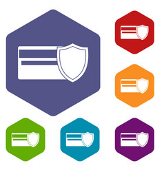 credit card and shield icons set vector image