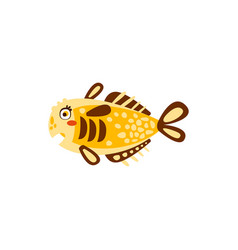 cute yellow fish hand drawn vector image vector image