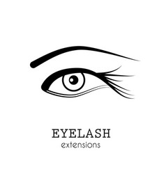 Eye eyelash extensions vector