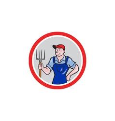 Farmer holding pitchfork circle cartoon vector