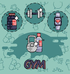 gym flat concept icons vector image vector image