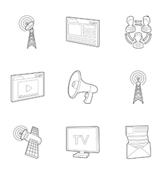 Internet icons set outline style vector image
