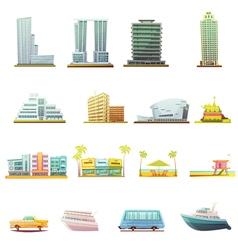 Miami Transportation Landscape Elements Icons Set vector image vector image