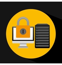 pc data base security padlock arrow vector image