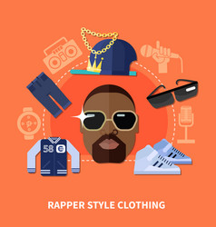 Rapper style clothing composition vector