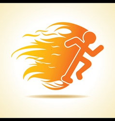 Running man icon with fire vector image