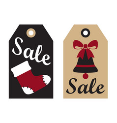 Sale promo label with christmas sock bell ribbon vector