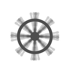 Ship wheel sign gray icon shaked at white vector