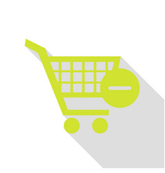 Shopping cart with remove sign pear icon vector
