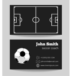 Soccer black business card template vector image