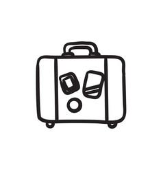 Suitcase sketch icon vector