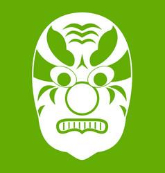 tribal mask icon green vector image