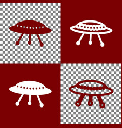 Ufo simple sign bordo and white icons and vector