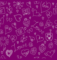 valentines day large icons set seamless pattern vector image