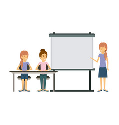 White background with pair of women sitting in a vector