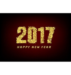 Happy new year 2017 with gold background vector