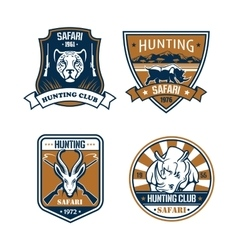 Hunting safari hunter sport club icons set vector