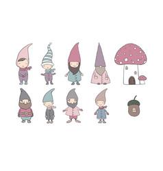Set of cute cartoon gnomes vector