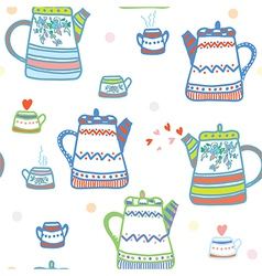 Tea seamless pattern with pots and cup cute vector