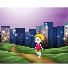 A young boy playing across the tall buildings in vector