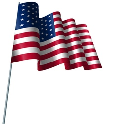 American flag waving wind vector