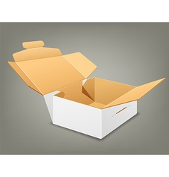 Open parcel boxes empty brown and white box vector