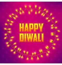 Happy diwali background decorated with light vector