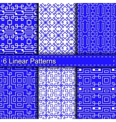 Set of six linear patterns vector