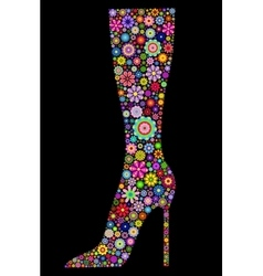 Flower boot on black background vector