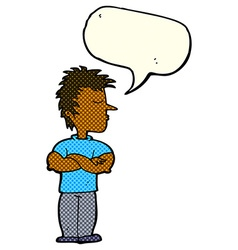 Cartoon man refusing to listen with speech bubble vector