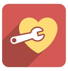 Heart surgery flat rounded square icon with long vector