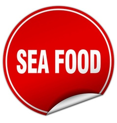Sea food round red sticker isolated on white vector