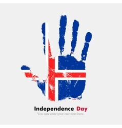 Handprint with the flag of iceland in grunge style vector