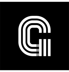 Capital letter g made of three white stripes vector