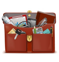 Briefcase with accessories vector