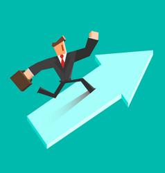 Businessman run on a growing arrow success vector