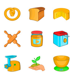 butty icons set cartoon style vector image vector image