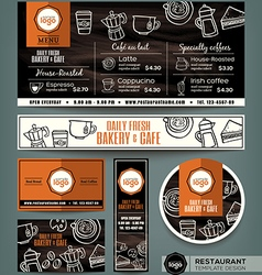 Coffee Bakery shop cafe set menu template vector image vector image