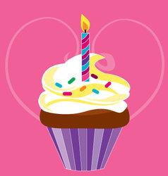 cupcake for birthday vector image vector image