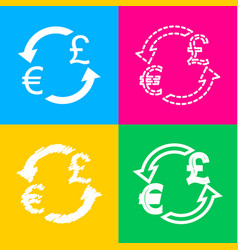 Currency exchange sign euro and uk pound four vector