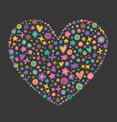 decorative flowers heart shape vector image