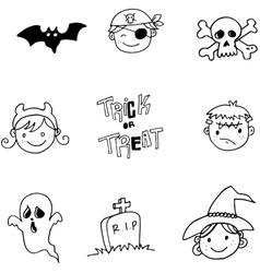 Face character halloween doodle vector