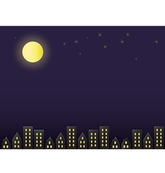 Full moon night sky above the city paper cut style vector