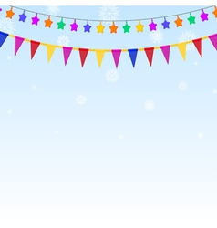 Garland of colored stars and flags vector image vector image