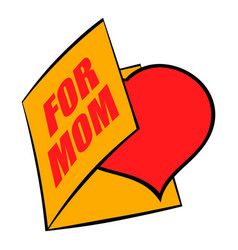 greeting card with heart for mom icon icon cartoon vector image vector image