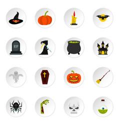 halloween icons set flat style vector image