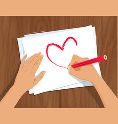 hands drawing heart shape vector image vector image