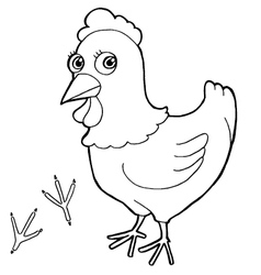 hen with paw print Coloring Pages vector image vector image